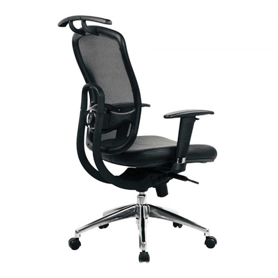 ARLANDA (CH) High Back Leather Mesh Office Chair with Coathanger