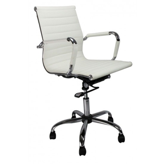 AREZZO - Designer White Leather Effect Swivel Office Chair