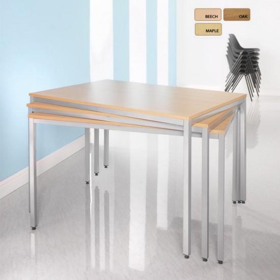 BOSTON Rectangular Silver Leg Stackable Meeting Tables