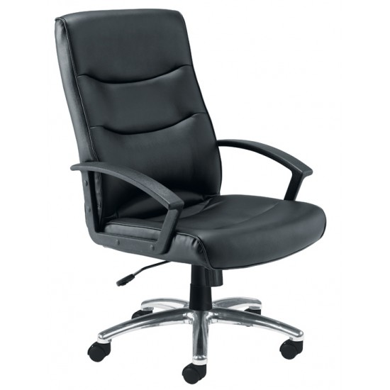 FIRENZE LEATHER Black Faux Leather Office Chair