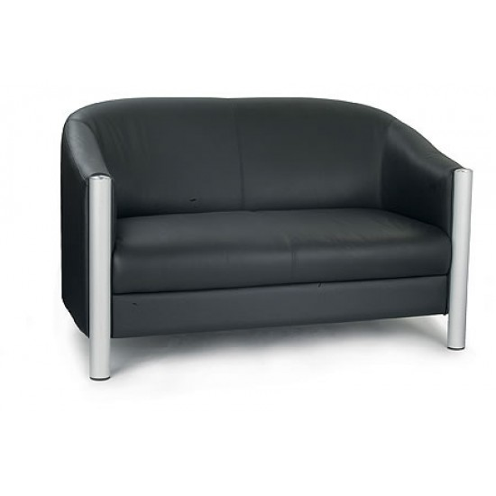 CHELMSFORD - Contemporary design leather faced 2 seater tub sofa