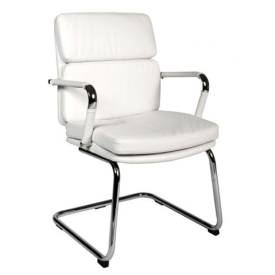 BELLONA VISITOR Retro Eames Style White Cantilever Office Chair