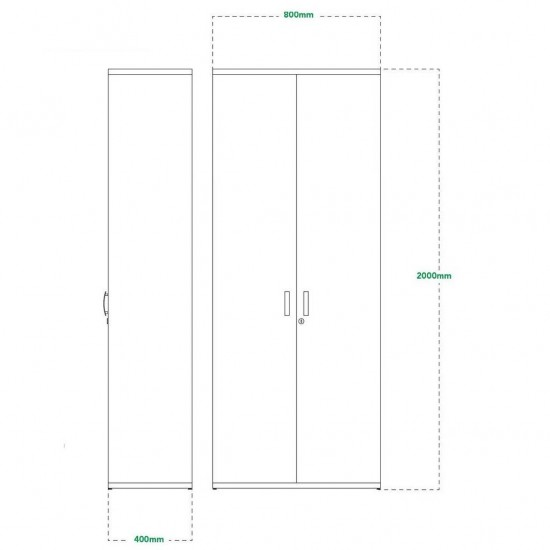 2000mm High Lockable Office Storage Cupboard with 4 Shelves