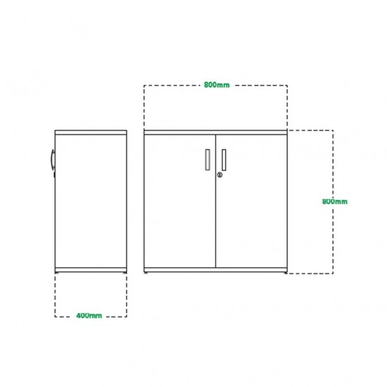 800mm High Lockable Office Storage Cupboard with 1 Shelf
