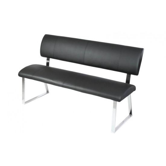 Triple Diner Bench Black Faux Leather