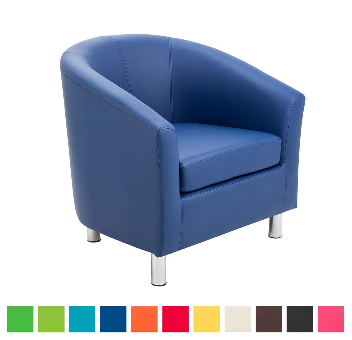 Hoboken Faux Leather Tub Chair In Bright Colours Metal Feet