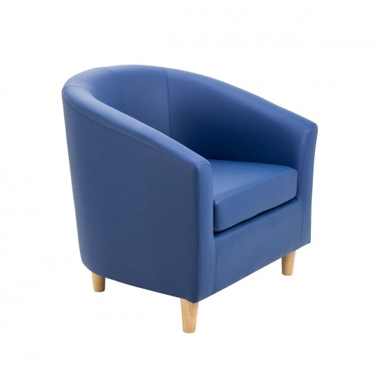 HOBOKEN Faux Leather Tub Chair in Bright Colours - Wooden Feet