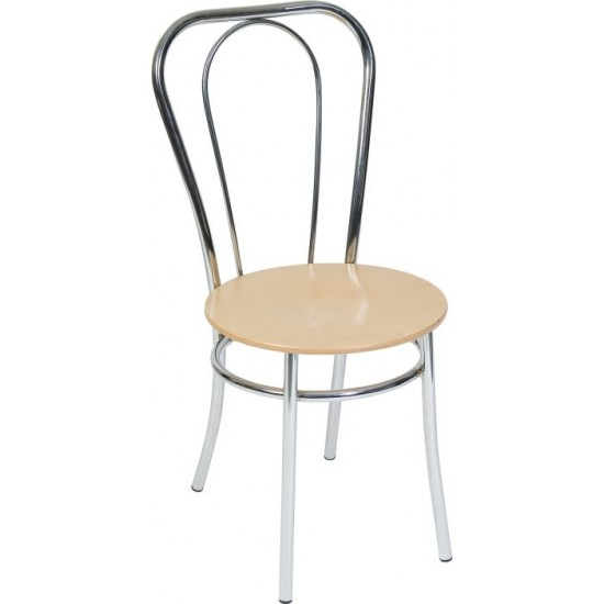 LAFAYETTE - 4 x Deluxe Wood/Chrome Cafe Bistro Chairs