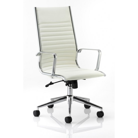 LIBERTY HIGH BACK Designer Leather Office Chairs, Ivory White