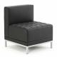 VERONA Contemporary Black Leather Modular Seating - Cube Unit