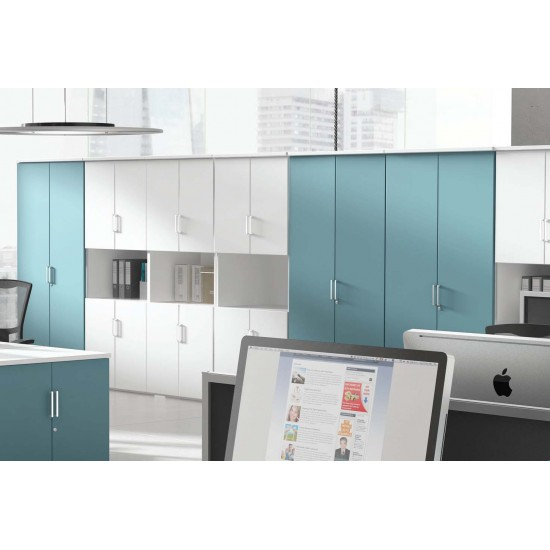 BAYSHORE 1900mm High Lockable Office Storage Cupboard with 4 Shelves with Colour Options