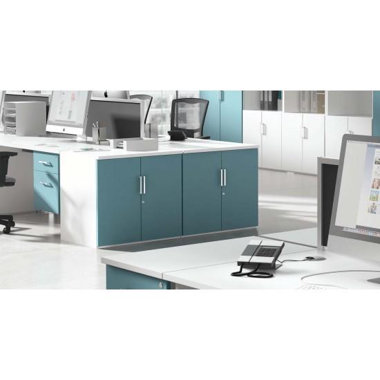 BAYSHORE Desk High 1 Shelf Lockable Office Storage Cupboard with Colour Options