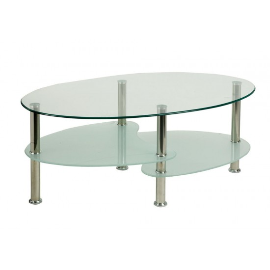 KLARA Contemporary Glass and Chrome Coffee Table