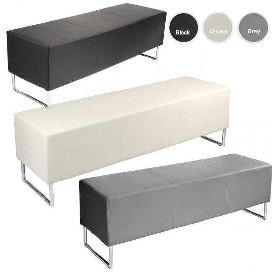 BLOCKETTE Leather Effect Bench Seat in Black, Cream, Grey