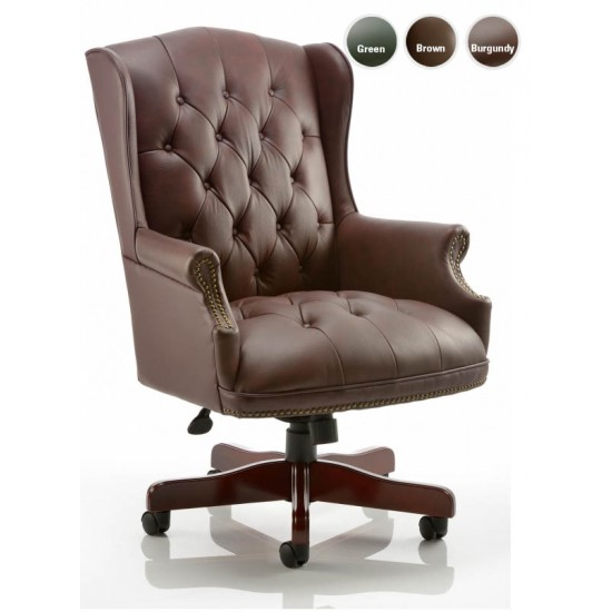 DRUMOAK Large Burgundy Leather Traditional Office Study Chairs