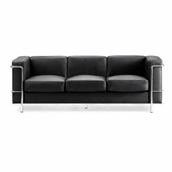 CUBE 3 Seat Contemporary Retro Style Leather Sofa