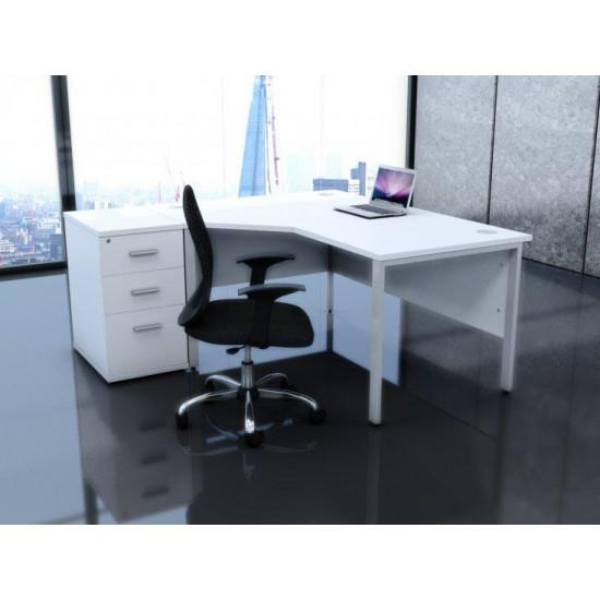 ENGLEWOOD White Desk High Office Storage Pedestal