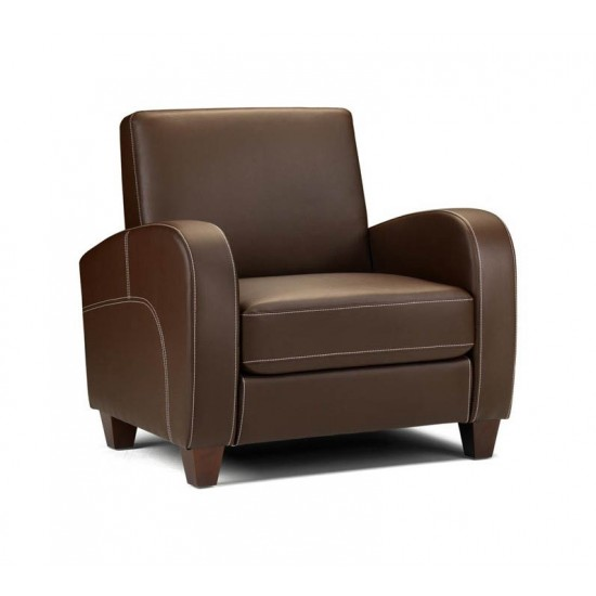 GLENROSA Contemporary Brown Faux Leather Armchair
