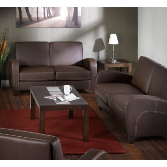 GLENROSA 3 Seat Contemporary Brown Faux Leather Sofa