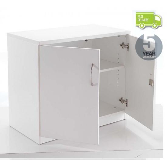 OSLO White Desk High Lockable Office Storage Cupboard