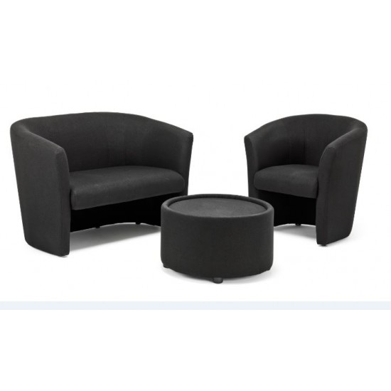PALAZZO Contemporary Round Black Fabric Coffee Table