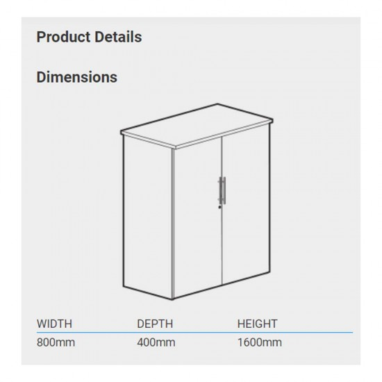 URBAN 2 Door Medium Storage Cupboard with 3 Shelves - 1600mm